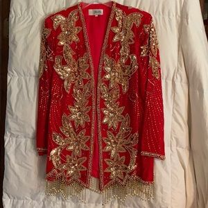 Gold Beaded Red Velvet Blazer
